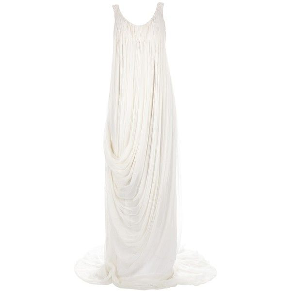 ALEXANDER MCQUEEN draped gown ($2,880) ❤ liked on Polyvore featuring dresses, gowns, alexander mcqueen, long dresses, white, silk dress, long silk dress, ruched dress, white evening dresses and silk evening gowns