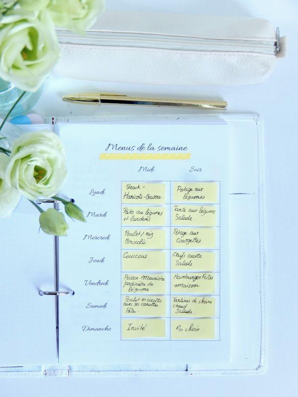Pourquoi et comment prévoir ses menus à l'avance + 2 fiches menus différentes à imprimer 2