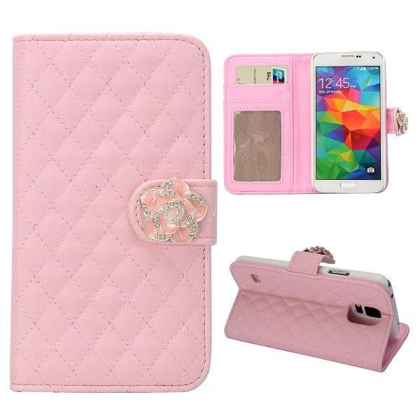 Roze diamantbloem bookcase hoes voor Samsung Galaxy S5