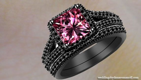 Black Gold Pink Diamond Wedding Rings And It A Perfect Choice Suitable For Engagement Pinterest