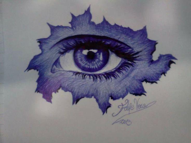 El ojo l piz pasta azul y negro sobre papel blanco for Papel pintado blanco y negro
