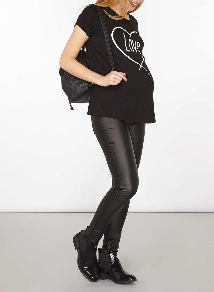 Womens **Maternity Black PU Overbump Super Skinny Jeans- Black