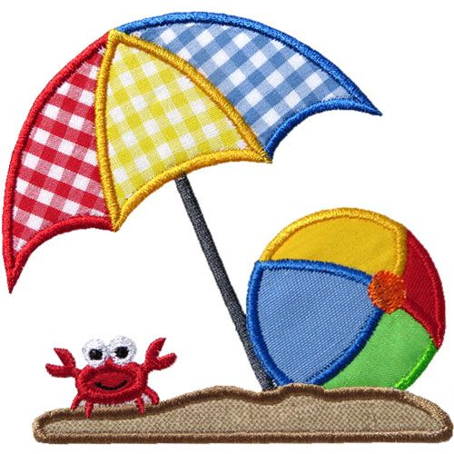 Beach Umbrella Ball Applique by HappyApplique.com