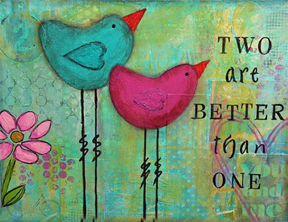 Mixed Media Original Art - Two Birds