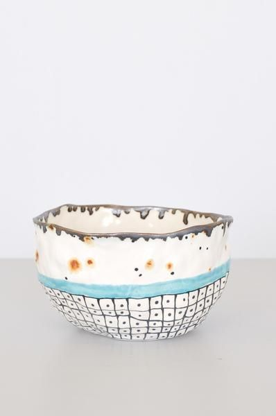 Hand-pinched bowl with blue stripe from Brooklyn artist Suzanne Sullivan. Due to…