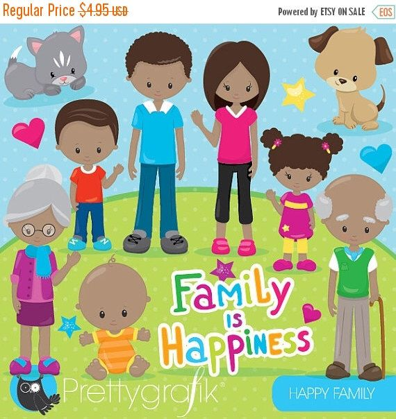 80 OFF SALE Happy Family Clipart Commercial Use Grandparents Vector Graphics Digital