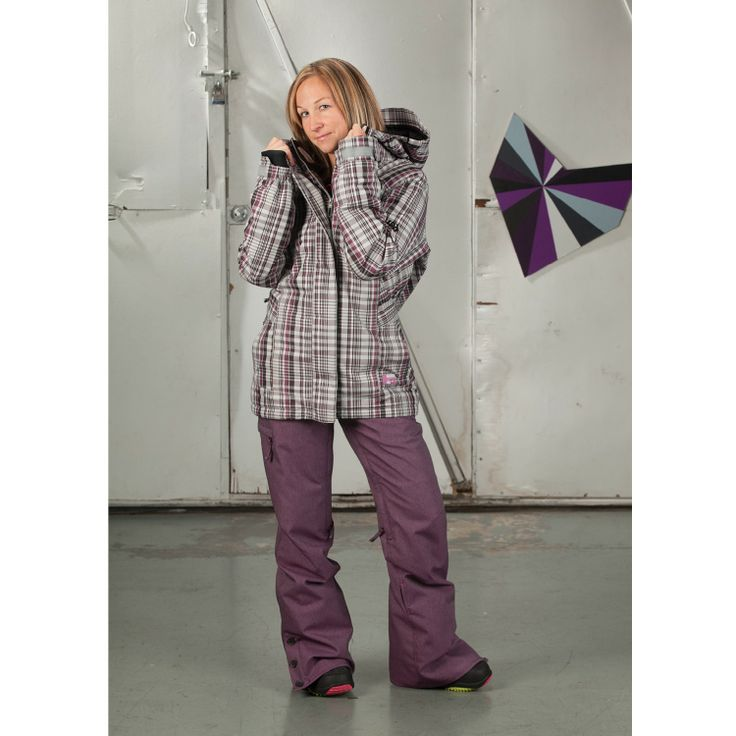 686 Reserved Ivy Insulated Womens Snowboard Jacket Grey Plaid and Plum Twill Denim pants.  Love!