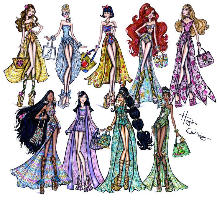 Disney Divas 'Beach Beauties' collection by Hayden Williams. illustration, art, style