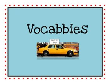 """This is a cute vocabulary activity that gets your kids to think on a higher level when connecting vocabulary words to what they mean. They have to think of a place the """"Vocabby"""" would like to go. For example, the word """"moist"""" might like to travel to a...swamp! One of my students said the word """"heroic"""" would definitely like to travel to """"Gotham City!!"""" My kids have loved doing """"Vocabbies!"""""""