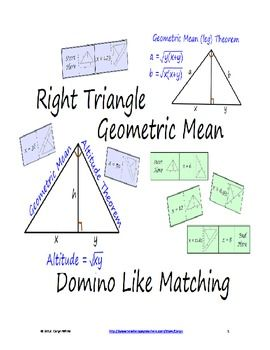 This sort is designed for students to work individually, in pairs, or small groups.There are 2 levels for this sort.  Student use the Right Triangle Geometric Mean Theorem to find the Altitude and Legs of a Right Triangle.  The solutions are rounded to 2 decimal places.