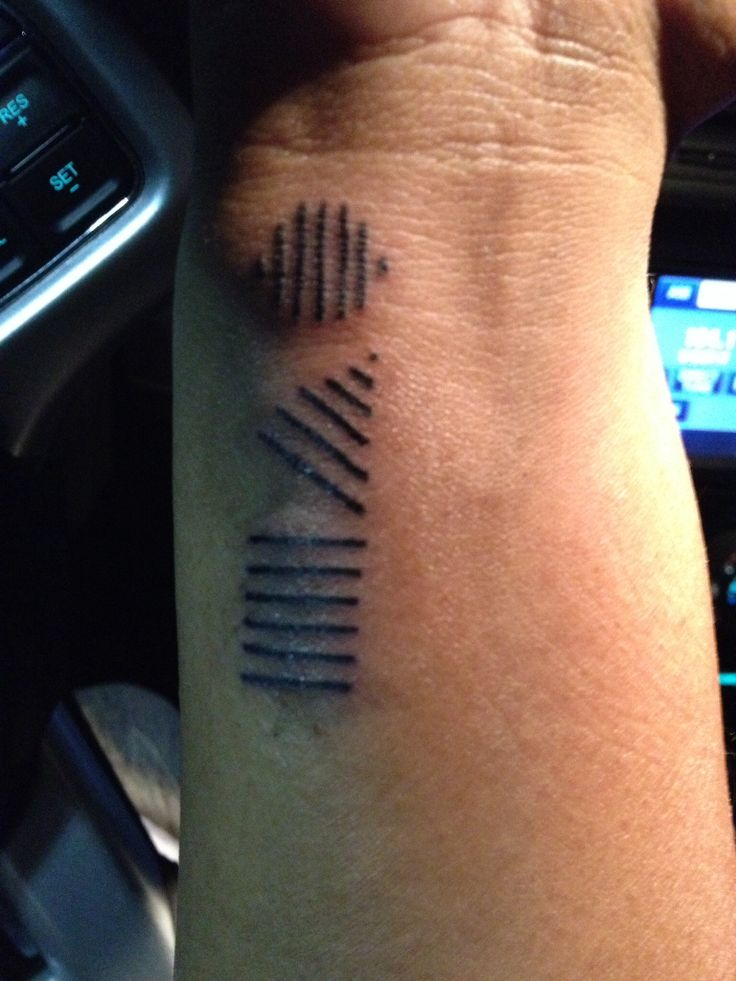 Hairstylist tattoo! Representing the three haircut shapes and angles.