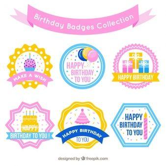 Набор значков на день рождения в пастельных тонах