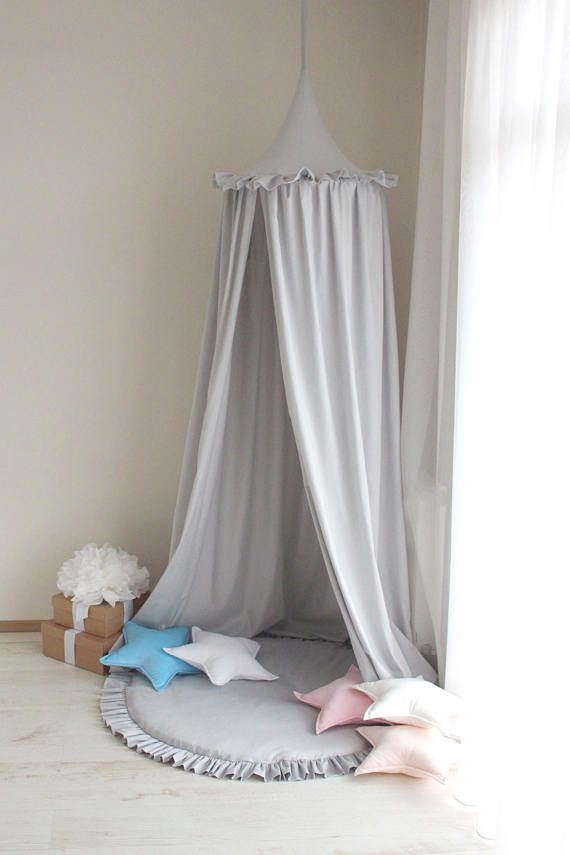 Bed Canopy Light Grey Canopy Kids Canopy Baldachin Crib Canopy Play Canopy Hanging Canopy Hanging Play