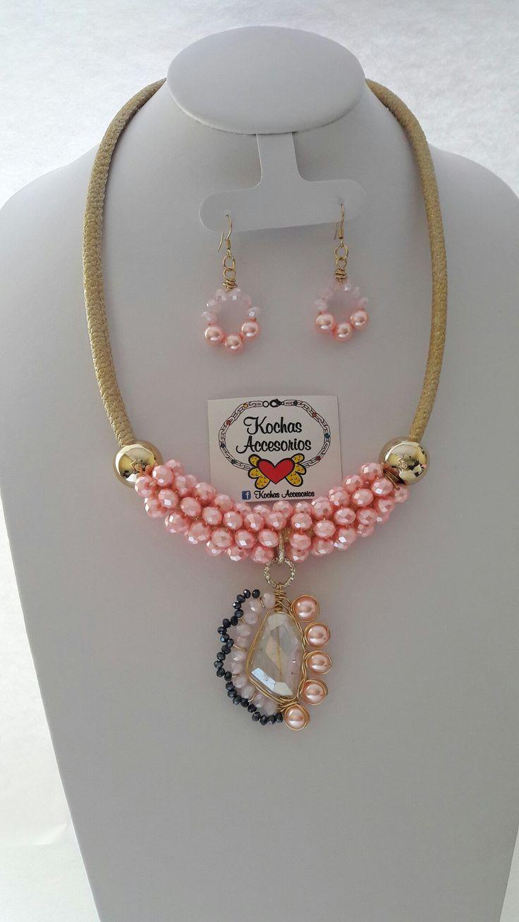 Perlas y dije de agata, color muy.primaveral para este verano