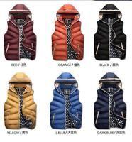 Hot Men's Winter Warm Down Cotton Parka Sleeveless Waistcoat Hooded vest Jacket