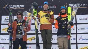 Alex Beaulieu-Marchands'est emparé de la médaille de bronze en ski slopestyle, dimanche, à l'occasion de la Coupe du monde FIS...