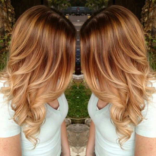 Beautiful Balayage Hairstyle with Light Copper Ombre(Dyed Hair Caramel)