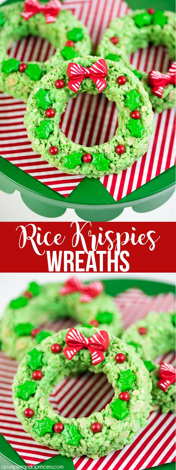 Rice Krispies Wreaths – a holiday spin on the classic Rice Krispies treats recipe. Kids will love these mini Rice Krispies wreaths decorated with holly leaves and berries. from MichaelsMakers A Pumpkin And A Princess