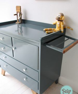 Extra grote vintage commode 121608 wit met hout | Stip styling