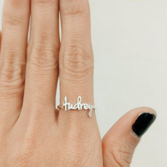Make one special photo charms for you, 100% compatible with your Pandora bracelets.  Dainty Name Ring Children Name Ring Personalized Ring by JewelryRB
