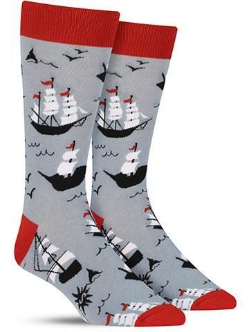 Cool novelty Ship Shape socks for men, in grey