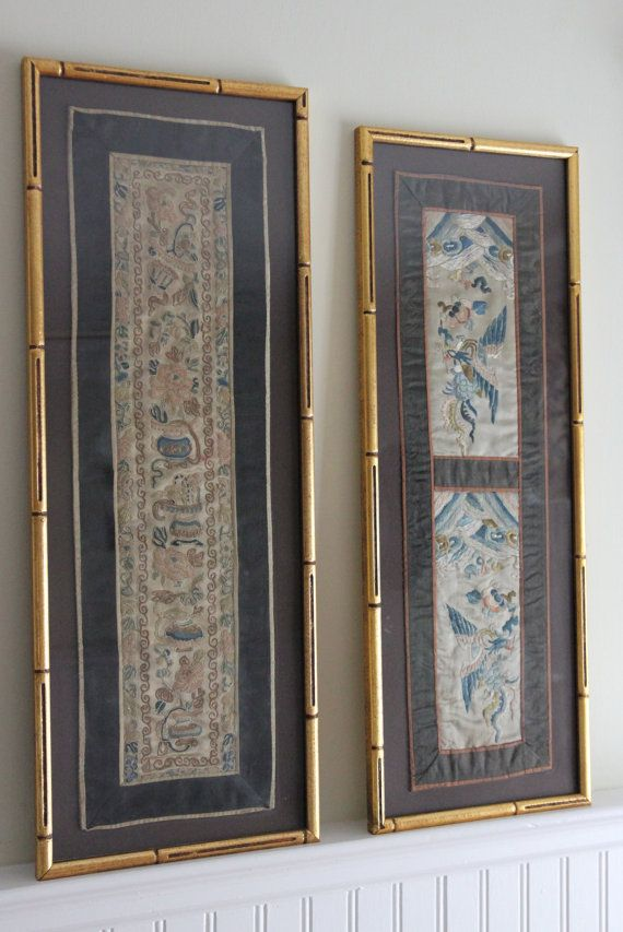 Pair of Japanese Embroidered Silk Panels in by SouthEndGreen,