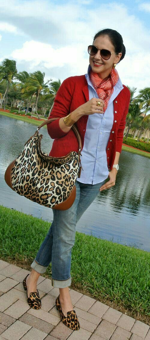 I would only wear one animal print, but love this concept and color combination. I think a solid purse would look better on me.