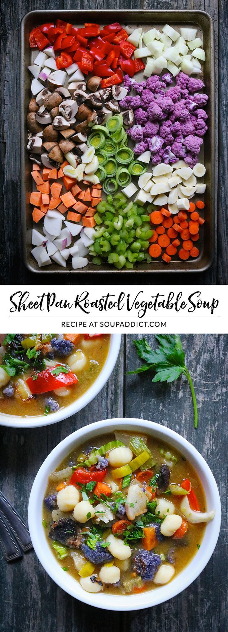 So easy to prepare, sheet pan roasted vegetable soup with gnocchi and pesto adds a healthy dose of vegetables to your day! Roasting the vegetables caramelizes them with sweet savoriness, and makes the soup extra special! Use a rainbow of vegetables - good