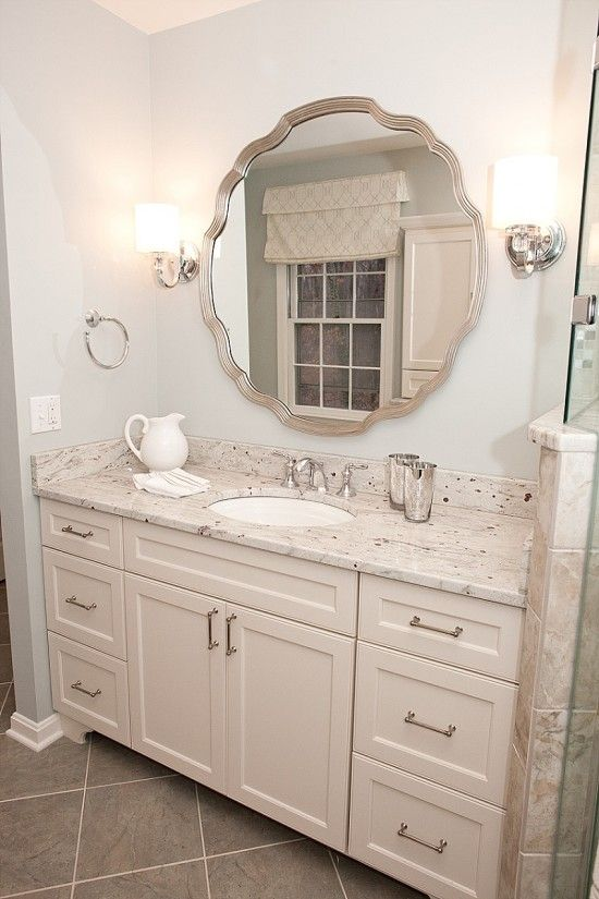 Tuscan Blue Design | Spa-Like Master Bathroom - River or Kashmir White granite with bluish gray wall