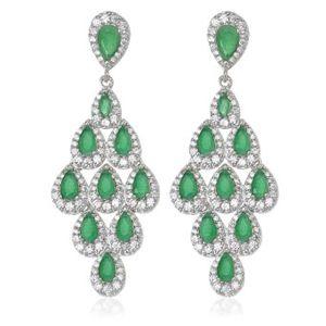 Pendientes de plata de primera ley con circonitas de color verde esmeralda y con cierre de presion