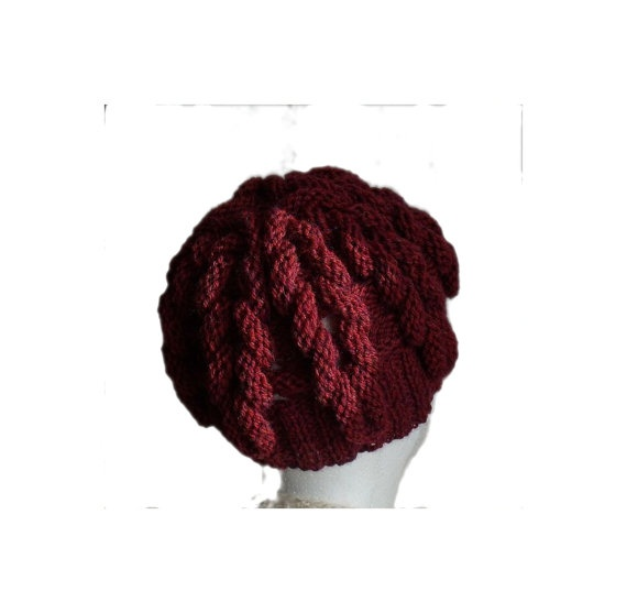 Cozy Cabled fantasy cherry red wine hand knitted by MyLaceSpace, $35.00