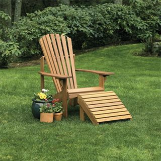 Dress up your deck or patio this season with these high-quality, beautiful and comfortable Adirondack chair and ottoman made from Kapur!
