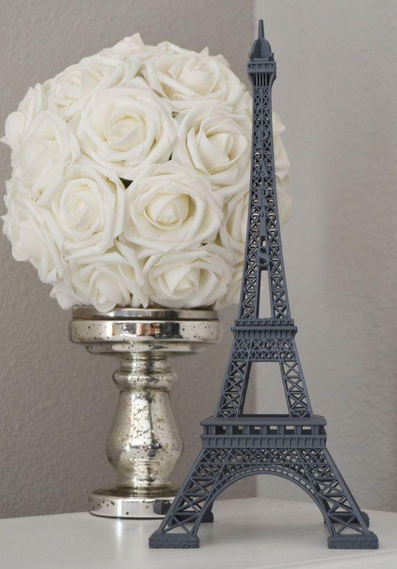 GRAY Eiffel Tower Centerpiece. Grey Parisians Theme Decor.