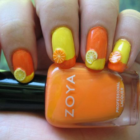 Best 25 fruit nail designs ideas on pinterest fruit nail art citrus fimo french twist on yellow and orange nails colors are zoya pippayellow and zoya jancynorange this is cute maybe nail art the fimo or prinsesfo Images