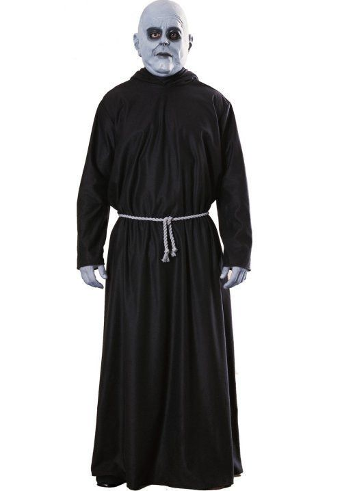 #15779 Don't forget a light bulb when you dress up as Uncle Fester from the Addams Family this Halloween. Includes: Mask, hooded robe & belt cord Sizes: Standard, XL