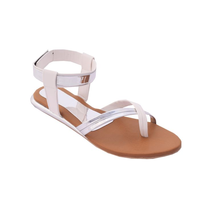 WHITE AND SILVER METTALIC SANDAL | #footwre. #partywear #formalwear #trendy #instock #discount #sale book today visit www.madeinmyindia.com