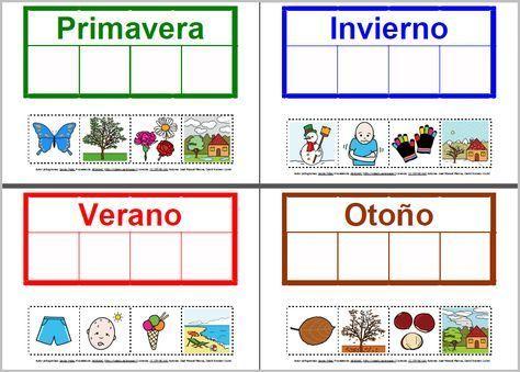 Estaciones del año: actividad de asociación con pictogramas de las Estaciones del año con el vocabulario correspondiente.