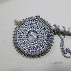 medalion,kryształowy,błyszczący - Wisiory - Biżuteria