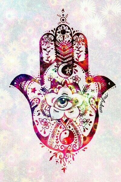 hand - hamsa hand - hipster - indie - eye -  colors