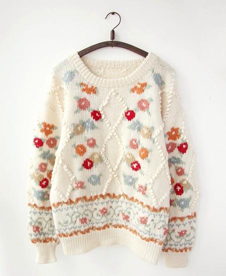 「外单孤品」vintage复古古着立体球球麻花提花手工棒针编织毛衣-淘宝网