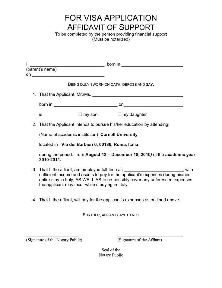 Affidavit Of Support Sample Letter For Student Visa Canada
