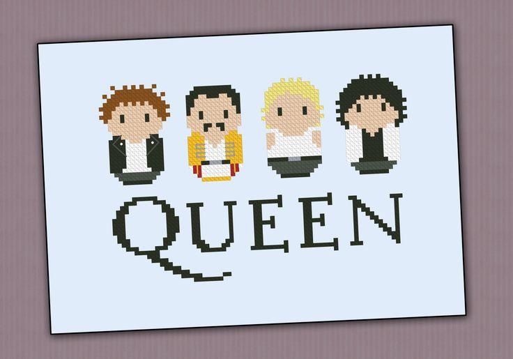 Queen rock band parody  Cross stitch PDF pattern por cloudsfactory, $4,50