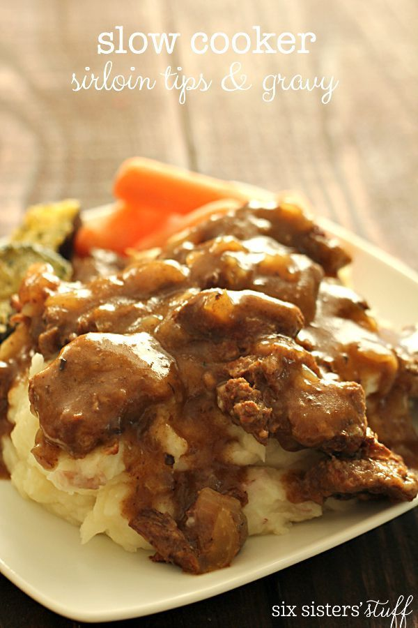 Slow Cooker Beef Sirloin Tips and Gravy on SixSistersStuff.com - so easy and so good!