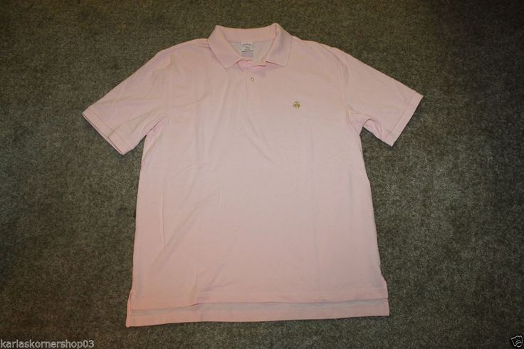 "Excellent used condition Brooks Brothers Original Fit Mens Pink Solid Polo Shirt Size Large Gold Logo Pit to Pit 24"" and from shoulder to hem 28 1/2"" and from back of shoulder to hem 30""   100% Cotton  Returns accepted if not 100% satisfied ( No hassle return policy)  *Returned in same condition you received it in.  *I pay for returned shipping if it is my fault  *If it is your fault you pay for returned Shipping   FAST SHIPPING!!!"