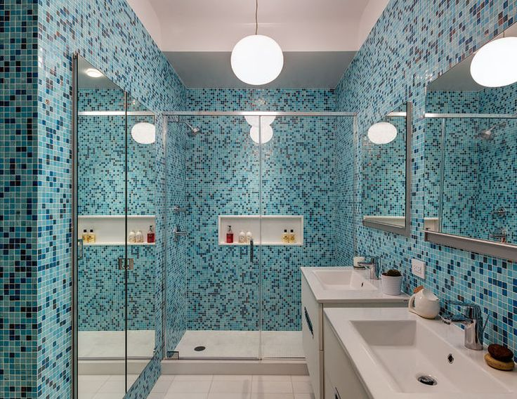 Photo Gallery For Website Blue mosaic tiled bathroom Get the right modern high gloss or matte cabinets for