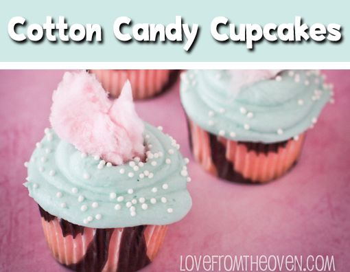 Cotton Candy Cupcakes by Love From The Oven