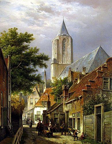 Willem Koekkoek - Figures Beside a Baker's Cart with Church Beyond