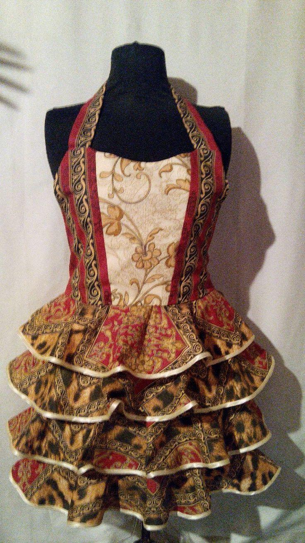 """Фартук женский с воланами """"Красно-бордовый""""(корсет, юбка с оборками) - женский фартук, подарок женщине"""