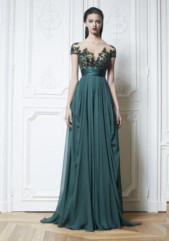 Dark Green Chiffon Evening Dresses, Appliques Beads Pleat