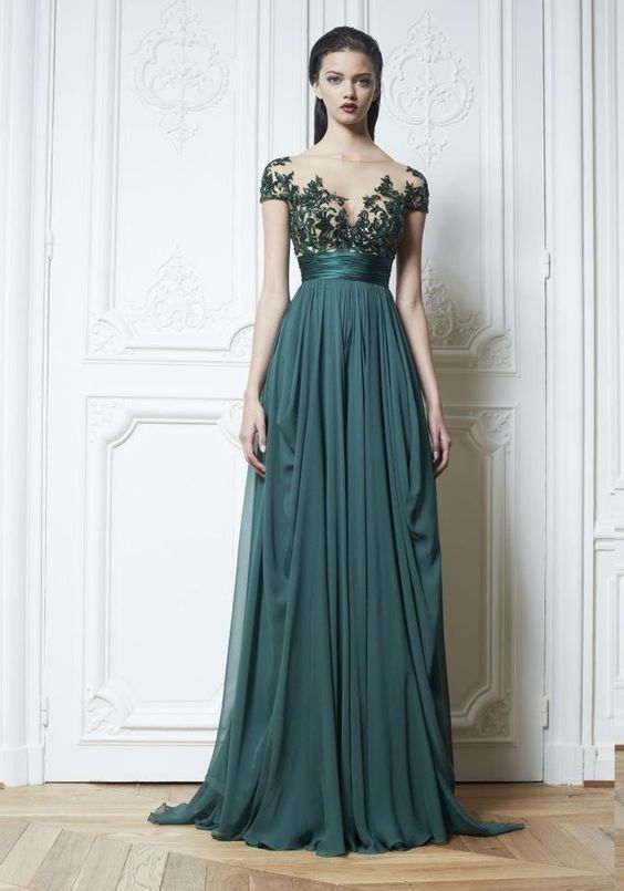 Dark Green Chiffon Evening Dresses, Appliques Beads Pleat
